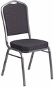 HERCULES Series Crown Back Stacking Banquet Chair in Black Patterned Fabric - Silver Vein Frame [HF-C01-SV-E26-BK-GG]