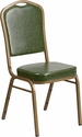 HERCULES Series Crown Back Stacking Banquet Chair in Green Vinyl - Gold Frame [FD-C01-G-3-GG]