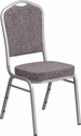HERCULES Series Crown Back Stacking Banquet Chair in Herringbone Fabric - Silver Frame [FD-C01-S-12-GG]