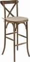 HERCULES Series Dark Antique Wood Cross Back Barstool with Cushion [XA-X-BAR-GO-BC-GG]