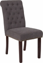 HERCULES Series Dark Gray Fabric Parsons Chair with Rolled Back, Nail Head Trim and Walnut Finish [BT-P-DKGY-FAB-GG]
