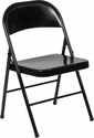 HERCULES Series Double Braced Black Metal Folding Chair [BD-F002-BK-GG]