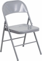 HERCULES Series Double Braced Gray Metal Folding Chair [BD-F002-GY-GG]