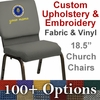 Embroidered HERCULES Series 18.5''W Church Chair in Customizable - Gold Vein Frame [NG-CH-185-GV-UNP-CUSTOM-EMB-GG]