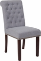 HERCULES Series Light Gray Fabric Parsons Chair with Rolled Back, Nail Head Trim and Walnut Finish [BT-P-LTGY-FAB-GG]