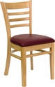 HERCULES Series Ladder Back Natural Wood Restaurant Chair - Burgundy Vinyl Seat [XU-DGW0005LAD-NAT-BURV-GG]