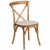 HERCULES Series Stackable Oak Wood Cross Back Chair with Cushion [XU-X-OAK-NTC-GG]