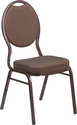 HERCULES Series Teardrop Back Stacking Banquet Chair in Brown Patterned Fabric - Copper Vein Frame [FD-C04-COPPER-008-T-02-GG]