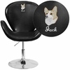 Embroidered HERCULES Trestron Series Black Leather Side Reception Chair with Adjustable Height Seat [CH-112420-BK-EMB-GG]