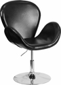 HERCULES Trestron Series Black Leather Side Reception Chair with Adjustable Height Seat [CH-112420-BK-GG]