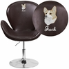 Embroidered HERCULES Trestron Series Brown Leather Side Reception Chair with Adjustable Height Seat [CH-112420-BRN-EMB-GG]