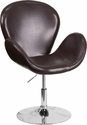 HERCULES Trestron Series Brown Leather Side Reception Chair with Adjustable Height Seat [CH-112420-BRN-GG]
