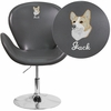 Embroidered HERCULES Trestron Series Gray Leather Side Reception Chair with Adjustable Height Seat [CH-112420-GY-EMB-GG]