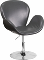 HERCULES Trestron Series Gray Leather Side Reception Chair with Adjustable Height Seat [CH-112420-GY-GG]