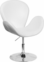 HERCULES Trestron Series White Leather Side Reception Chair with Adjustable Height Seat [CH-112420-WH-GG]