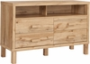 Heritage Collection 4 Drawer Dresser with Open Storage in Rustic Oak [EV-DC-6012-00-GG]