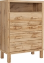 Heritage Collection Chest of Drawers with Open Storage in Rustic Oak [EV-DC-9879-01-GG]