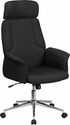 High Back Black Fabric Executive Swivel Chair with Chrome Base and Fully Upholstered Arms [CH-CX0944H-BK-GG]