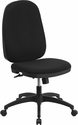 High Back Black Fabric Multifunction Swivel Task Chair with Back Angle Adjustment [WR-609G-GG]