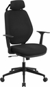 High Back Black Fabric Executive Swivel Chair with Height Adjustable Headrest and Arms [CS-75-GG]