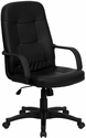 High Back Black Glove Vinyl Executive Swivel Chair with Arms [H8021-GG]