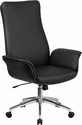 High Back Black Leather Executive Swivel Chair with Flared Arms [BT-88-BK-GG]