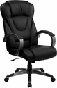 High Back Black Leather Executive Swivel Chair with Arms [BT-9069-BK-GG]