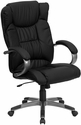 High Back Black Leather Executive Swivel Chair with Arms [BT-9088-BK-GG]