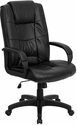 High Back Black Leather Executive Swivel Chair with Arms [GO-5301B-BK-LEA-GG]
