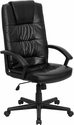 High Back Black Leather Executive Swivel Chair with Arms [GO-7102-GG]