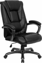 High Back Black Leather Executive Swivel Chair with Arms [GO-7194B-BK-GG]