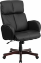 High Back Black Leather Executive Swivel Chair with Fully Upholstered Arms [BT-9028H-1-GG]