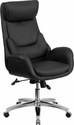 High Back Black Leather Executive Swivel Chair with Lumbar Pillow and Arms [BT-90027OH-GG]