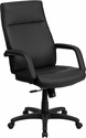 High Back Black Leather Executive Swivel Chair with Memory Foam Padding with Arms [BT-90033H-BK-GG]