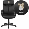 Embroidered High Back Black Leather Executive Swivel Chair with Arms [GO-2196-1-EMB-GG]