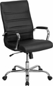 High Back Black Leather Executive Swivel Chair with Chrome Base and Arms [GO-2286H-BK-GG]