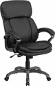 High Back Black Leather Executive Swivel Chair with Lumbar Support Knob with Arms [BT-90272H-GG]
