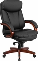 High Back Black Leather Executive Swivel Chair with Synchro-Tilt Mechanism,Mahogany Wood Base and Arms [BT-90171H-S-GG]