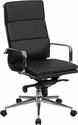 High Back Black Leather Executive Swivel Chair with Synchro-Tilt Mechanism and Arms [BT-9895H-6-BK-GG]
