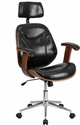 High Back Black Leather Executive Wood Swivel Chair with Arms [SD-SDM-2235-5-BK-HR-GG]