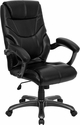High Back Black Leather Overstuffed Executive Swivel Chair with Arms [GO-724H-BK-LEA-GG]