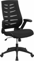High Back Designer Black Mesh Executive Swivel Chair with Height Adjustable Flip-Up Arms [BL-ZP-809-BK-GG]