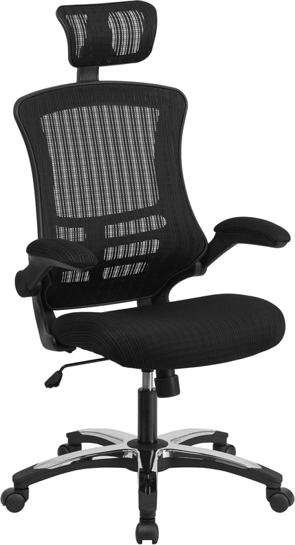 BLACK MESH HIGHBACK SWIVEL TILT. HOME OFFICE DESK DORM COMPUTER. CHAIRS  WITH ADJUSTABLE HEADREST. CHROME PLATED BASE AND FLIP UP ARMS