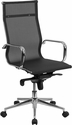 High Back Transparent Black Mesh Executive Swivel Chair with Synchro-Tilt Mechanism and Arms [BT-2768H-GG]