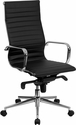 High Back Black Ribbed Leather Executive Swivel Chair with Knee-Tilt Control and Arms [BT-9826H-BK-GG]