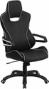 High Back Black Vinyl Executive Swivel Chair with White Trim and Arms [CH-CX0699H01-GG]