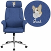 Embroidered High Back Blue Fabric Executive Swivel Chair with Chrome Base and Fully Upholstered Arms [CH-CX0944H-BL-EMB-GG]
