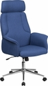 High Back Blue Fabric Executive Swivel Chair with Chrome Base and Fully Upholstered Arms [CH-CX0944H-BL-GG]