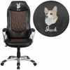 Embroidered High Back Brown Fabric and Black Vinyl Executive Swivel Chair with Arms [CH-CX0906H-EMB-GG]