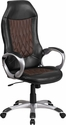 High Back Brown Fabric and Black Vinyl Executive Swivel Chair with Arms [CH-CX0906H-GG]